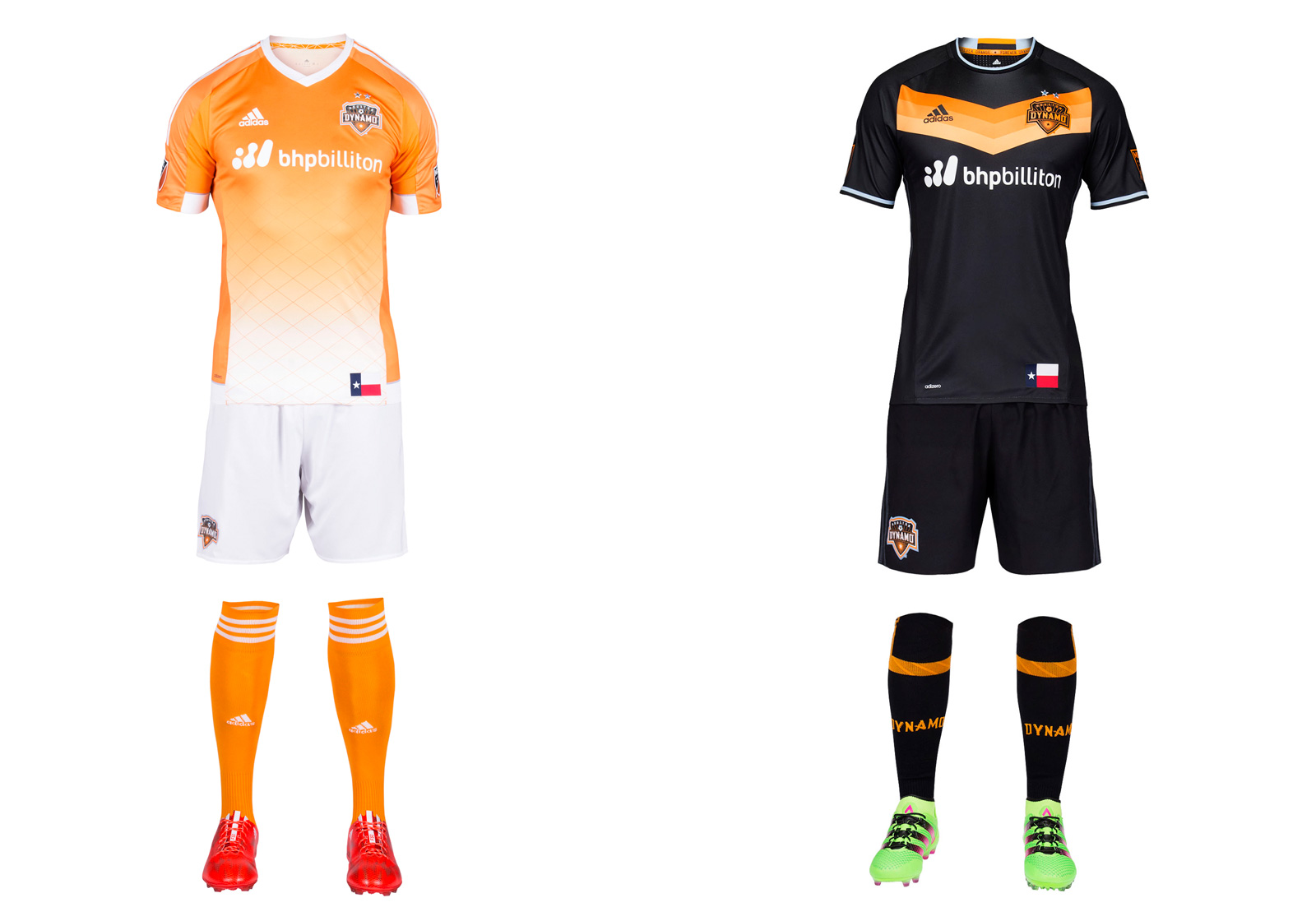 "Houston's new away uniform is a stunning departure from the traditional white. Black has been part of the club's palette (check the logo). It now dominates the secondary kit save for a bright orange chevron on the chest reminiscent of the Astros' famous ""Tequila Sunrise"" jerseys and the shirts Germany wore when winning the 2014 World Cup. We may not see the black too often at home (it's hot and humid in Houston), but it should sell well. The orange fade on the primary set carries over from 2015. The Dynamo occasionally wear mono-orange, which is a mistake. The white shorts remain the way to go."
